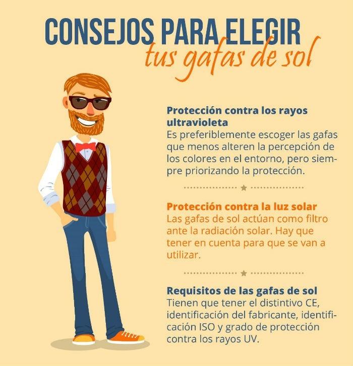 Infografia consejos para elegir tus gafas de sol